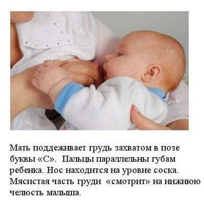 Схема прикладывания ребенка к груди
